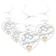 Sok Boldogságot Szívek és Galambok Ezüst Esküvői Függő Dekoráció - 6 db-os