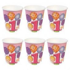 Boldog 1. Szülinapot! Léggömbös Rózsaszín Lányos Parti Pohár - 250 ml, 6 db-os