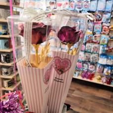 Fémrózsa dobozban bordó és lila