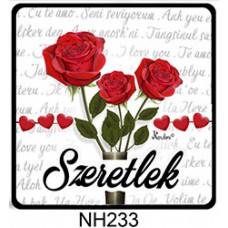 Hűtőmágnes 7,5 cm x 7,5 cm - Szeretlek három rózsa