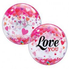 56 cm-es Love You Confetti Hearts Szerelmes Bubble Lufi