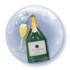 61cm-es Pezsgősüveg és Pohár - Bubbles Champagne Double Bubble Lufi