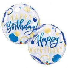 56 cm-es Birthday Blue & Gold Dots Szülinapi Bubble Lufi