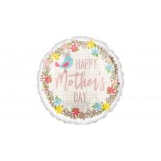 45 cm-es Happy Mother's Day feliratú madárkás fólia lufi