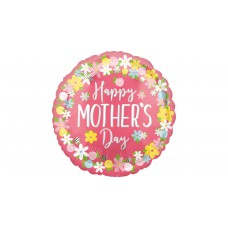 45 cm-es Happy Mother's Day feliratú virágos fólia lufi