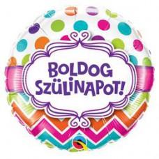 46 cm-es Boldog Születésnapot Chevron Dots Szülinapi Fólia Lufi