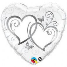 46 cm-es Entwined Hearts Silver Esküvői Szív Fólia Lufi