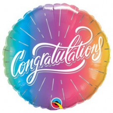 46 cm-es Gratulálunk - Congratulations Vibrant Ombre Fólia Lufi Ballagásra