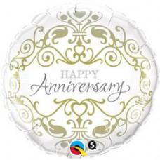 46 cm -es Happy Anniversary - Boldog Évfordulót Arany Inda Mintás Esküvői Fólia Léggömb