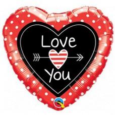 46 cm-es Love You Dots & Arrows Szerelmes Szív Fólia Lufi