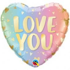 46 cm-es Love You Pastel Ombre & Hearts Szív Fólia Lufi