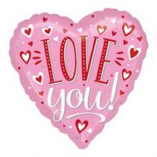 46 cm-es Love You Pink Piros Fehér Szívecskés Szív Fólia Lufi Valentin-napra