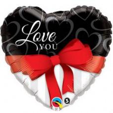 46 cm-es Love You Red Ribbon Szerelmes Szív Alakú Fólia Lufi