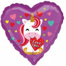 46 cm-es Love You Unicorn Szív Fólia Lufi