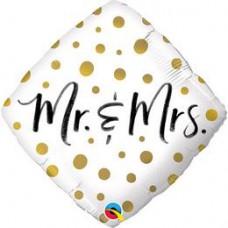 46 cm-es Mr. And Mrs. Gold Dots Esküvői Diamond Fólia Lufi