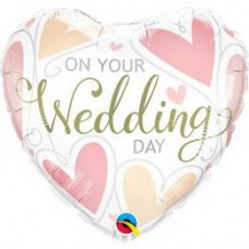 46 cm-es On Your Wedding Day Hearts Esküvői Szív Fólia Lufi