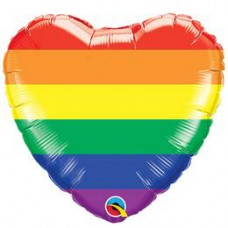 46 cm-es Rainbow Stripes - Szivárvány Csíkos Szív Alakú Fólia Lufi