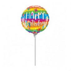23 cm-es Szivárvány Mintás - Birthday Rainbow Stripes Szülinapi Fólia Lufi