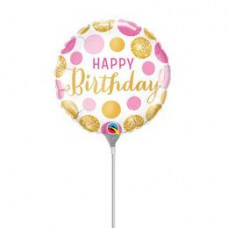23 cm-es Birthday Pink & Gold Dots Szülinapi Fólia Lufi