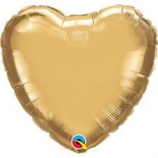 46 cm-es Chrome Gold Szív Fólia Lufi