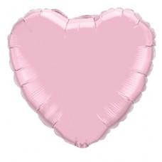 46 cm-es Gyöngyház Rózsaszín - Pearl Pink Szív Fólia Lufi