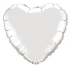 46 cm-es Ezüst - Silver Szív Fólia Lufi