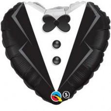 46 cm-es Wedding Tuxedo Esküvői Szív Fólia Lufi