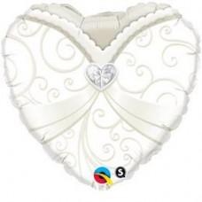 46 cm-es Wedding Gown Esküvői Szív Fólia Lufi