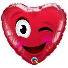 46 cm-es Smiley Wink Heart Szív Fólia Lufi Valentin-napra