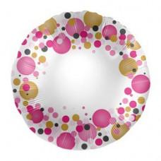 43 cm-es Rózsaszín Pasztell Konfettis Feliratozható Fólia Lufi