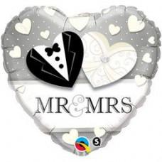 46 cm-es Mr. & Mrs. Wedding Esküvői Szív Fólia Lufi