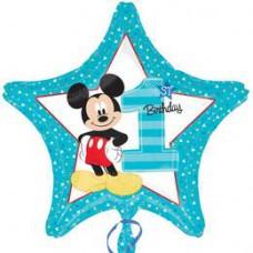 46 cm-es Mickey Mouse Csillag Alakú Első Szülinapi Fólia Lufi