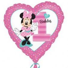 46 cm-es Minnie Mouse Szív Alakú Első Szülinapi Fólia Lufi
