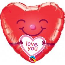 46 cm-es Love You Smiley Hearts Szerelmes Szív Fólia Lufi