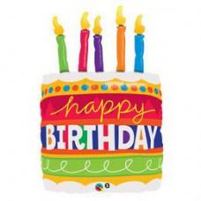 89 cm-es Birthday Cake & Candles Szülinapi Super Shape Héliumos Fólia Lufi
