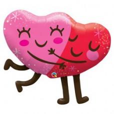 91cm-es Ölelkező Szívek - Hugging Hearts Super Shape Fólia Lufi