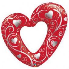 106 cm-es Hearts & Filigree Red Szerelmes Fólia Lufi