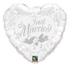 91 cm-es Gyöngyház Fehér és Ezüst - Just Married Pearl White és Silver Esküvői Fólia Léggömb