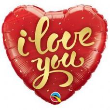 46 cm-es I Love You Gold Script Szív Fólia Lufi