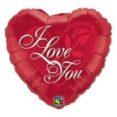46 cm-es Rózsás Szív - I Love You Red Rose Szerelmes Fólia Lufi