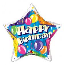 50 cm-es Birthday! Sparkling Balloons Star Szülinapi Fólia Lufi