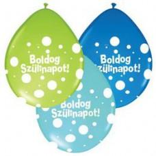 28 cm-es Boldog Szülinapot Big Polka Dots Neck Up Lufi Fiús Színekben 1 db