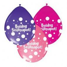 28 cm-es Boldog Szülinapot Big Polka Dots Neck Up Lufi Lányos Színekben 1 db