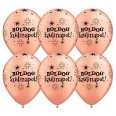 28 cm-es Boldog Szülinapot Feliratú Sparkle Rosegold Szülinapi Lufi 1 db