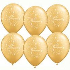 28 cm-es Sok Boldogságot Metallic Gold Virágmintás Lufi Esküvőre 1 db