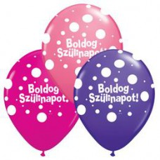28 cm-es Boldog Szülinapot Big Polka Dots Lufi Lányos Színekben 1 db