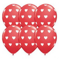 28 cm-es Big Hearts Red and White Szives Szerelmes Lufi 1 db