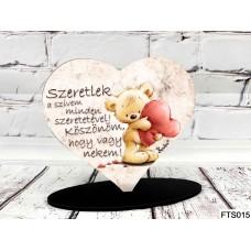 Szív Alakú Talpas Tábla 13,5 cm x 11,5 cm - Szeretlek a szívem minden