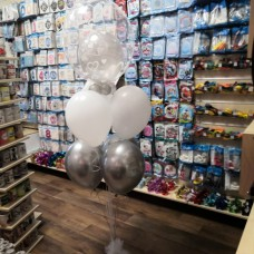 Esküvői léggömbcsokor töltött Bubbles lufival