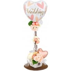 Esküvői lufioszlop rózsaszín szívecskés